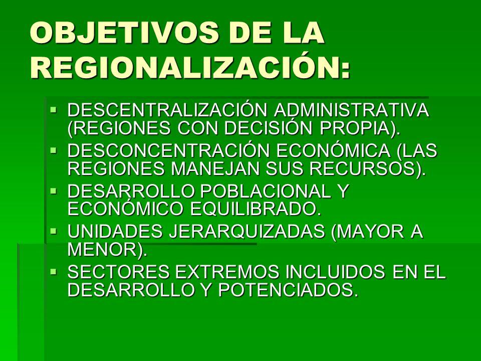 OBJETIVOS DE LA REGIONALIZACIÓN: