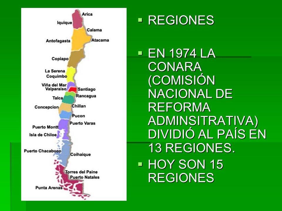 REGIONES EN 1974 LA CONARA (COMISIÓN NACIONAL DE REFORMA ADMINSITRATIVA) DIVIDIÓ AL PAÍS EN 13 REGIONES.
