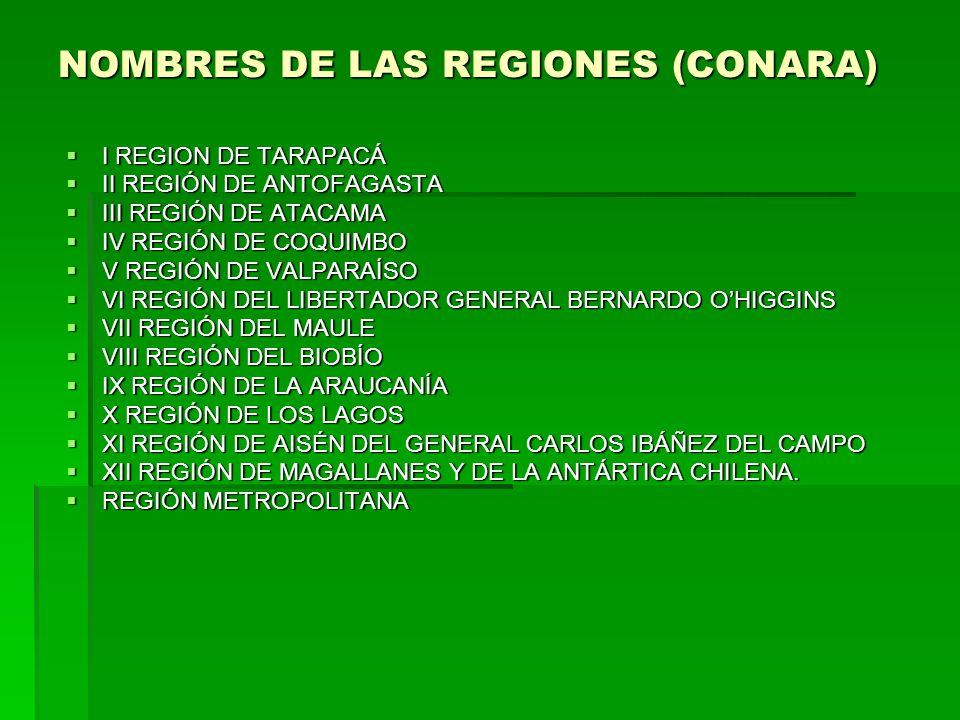 NOMBRES DE LAS REGIONES (CONARA)