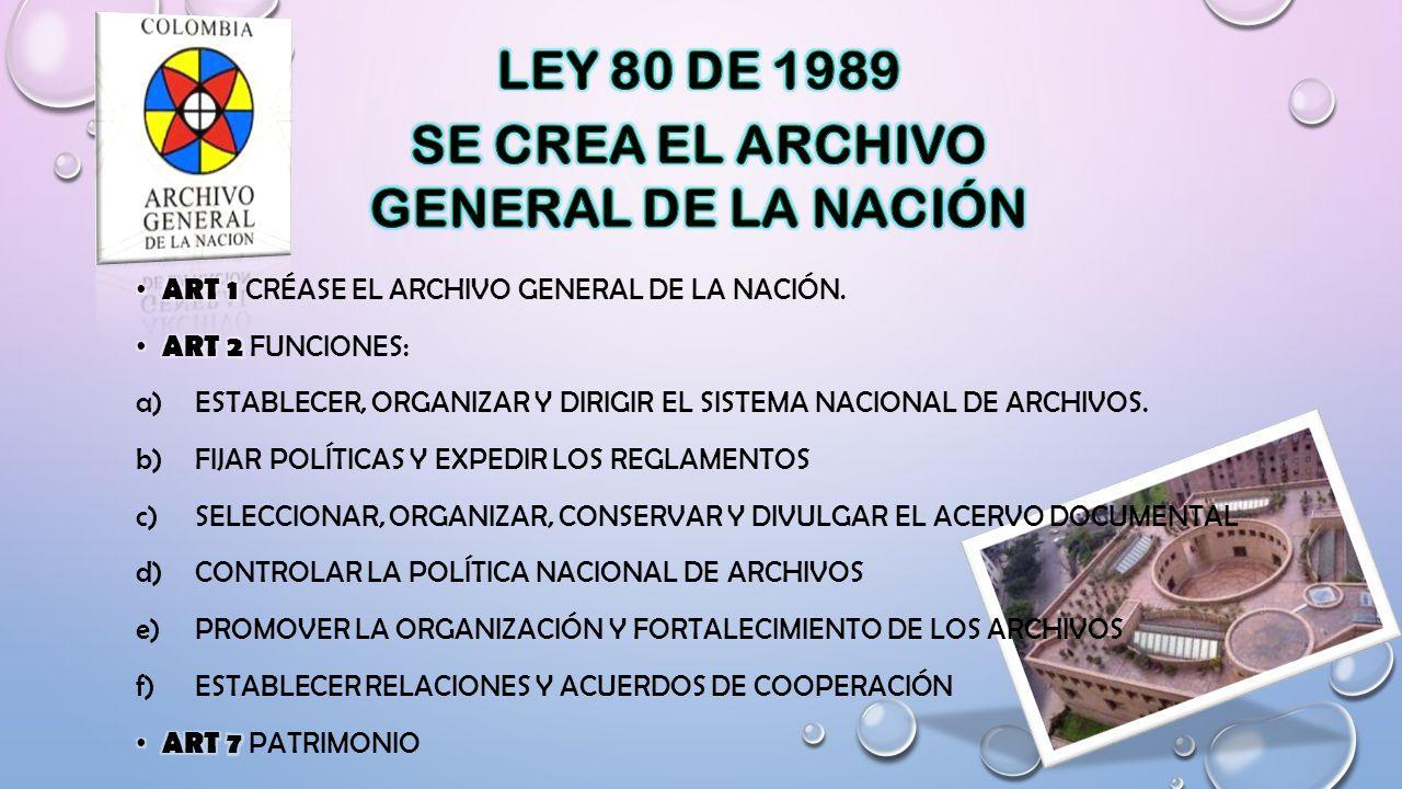 SE CREA EL ARCHIVO GENERAL DE LA NACIÓN