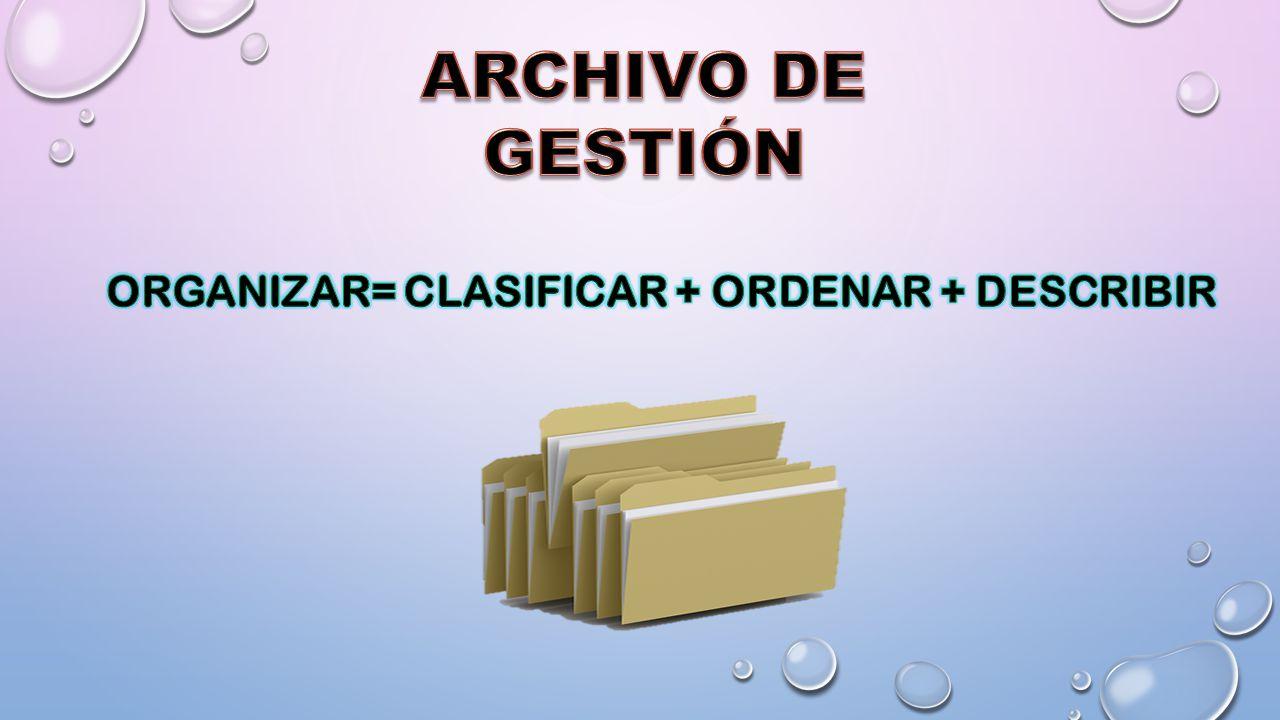 ORGANIZAR= CLASIFICAR + ORDENAR + DESCRIBIR