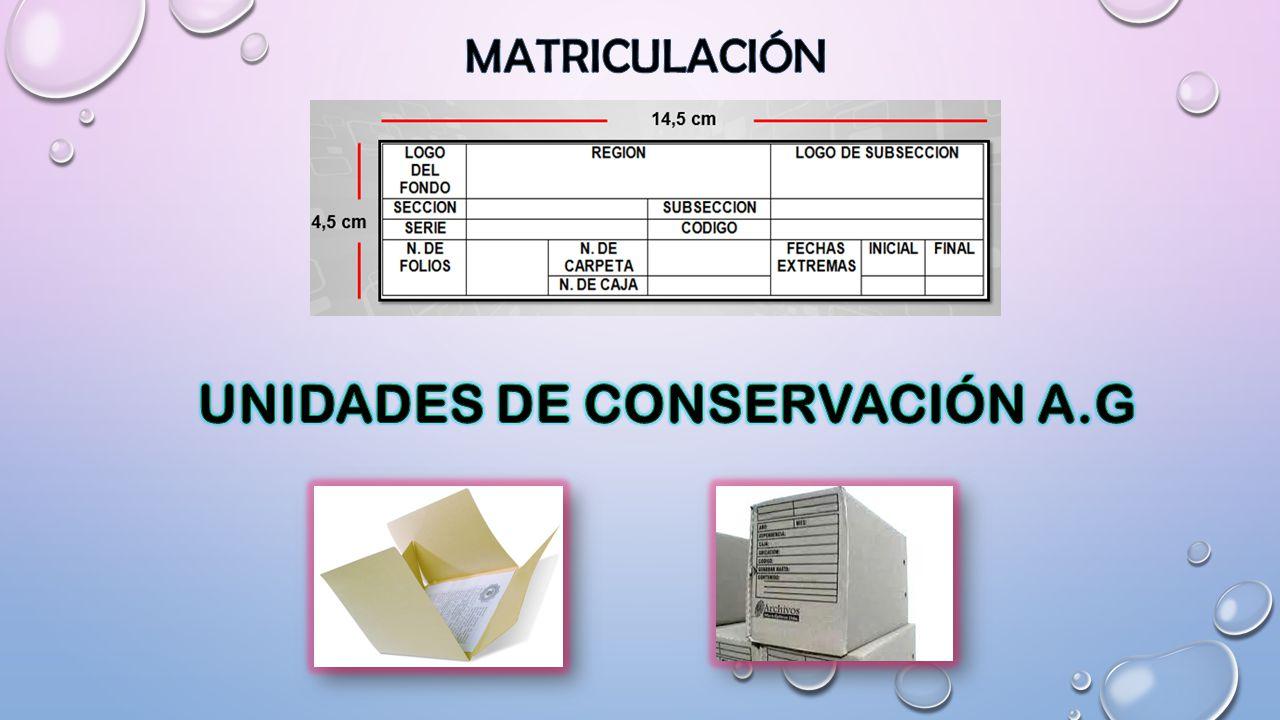 UNIDADES DE CONSERVACIÓN A.G
