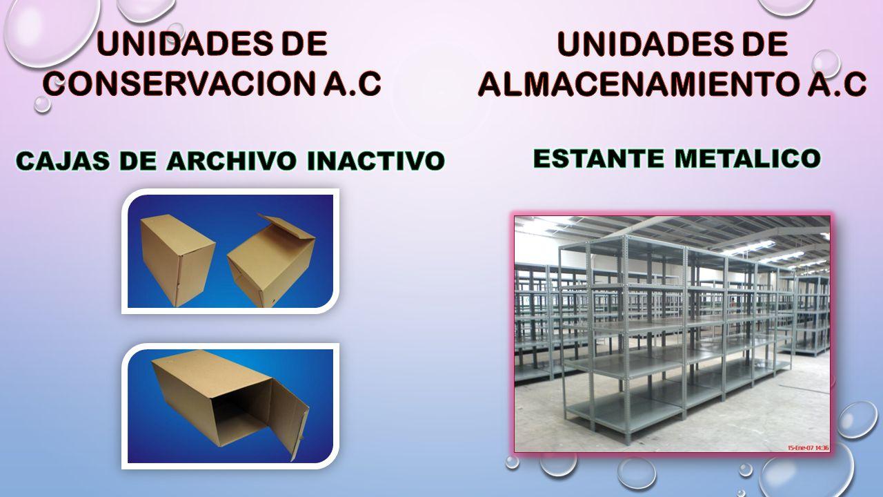 UNIDADES DE CONSERVACION A.C UNIDADES DE ALMACENAMIENTO A.C
