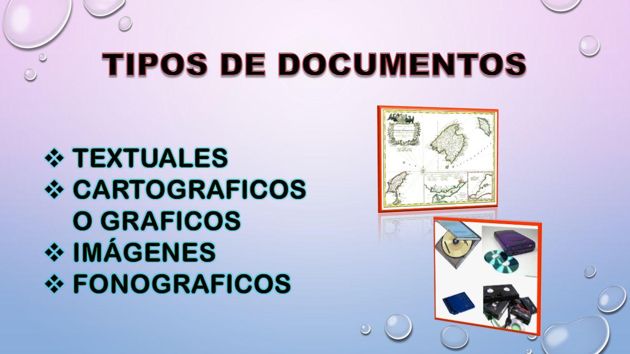 TIPOS DE DOCUMENTOS TEXTUALES CARTOGRAFICOS O GRAFICOS IMÁGENES