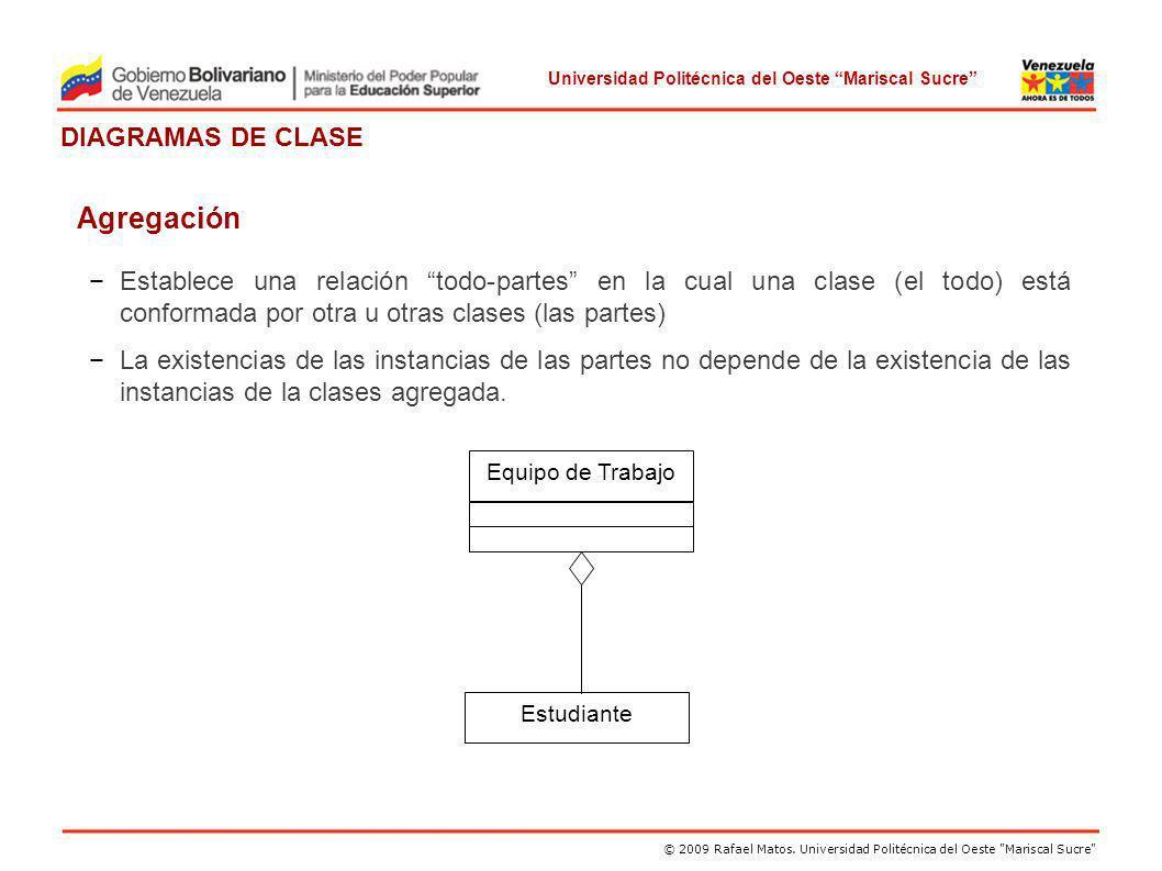 Agregación Establece una relación todo-partes en la cual una clase (el todo) está conformada por otra u otras clases (las partes)
