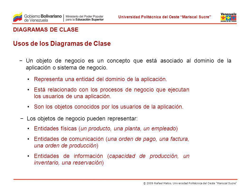 Usos de los Diagramas de Clase