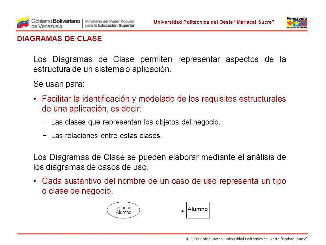 Los Diagramas de Clase permiten representar aspectos de la estructura de un sistema o aplicación.