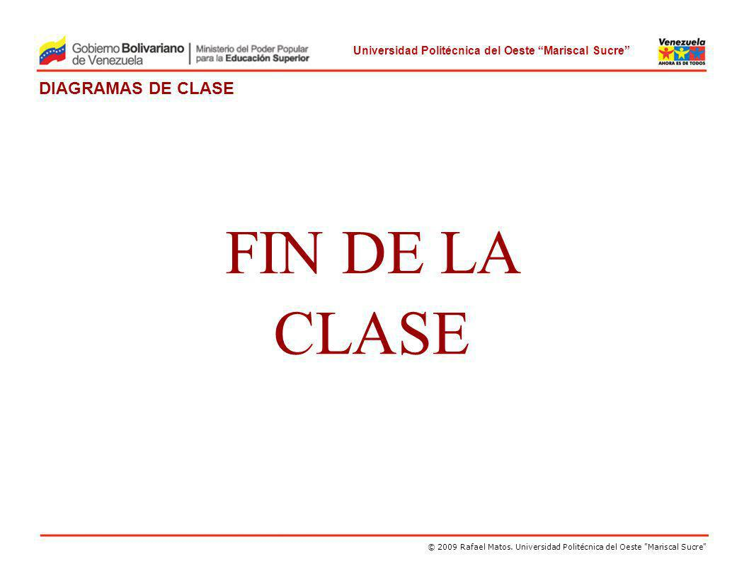 FIN DE LA CLASE © 2009 Rafael Matos. Universidad Politécnica del Oeste Mariscal Sucre