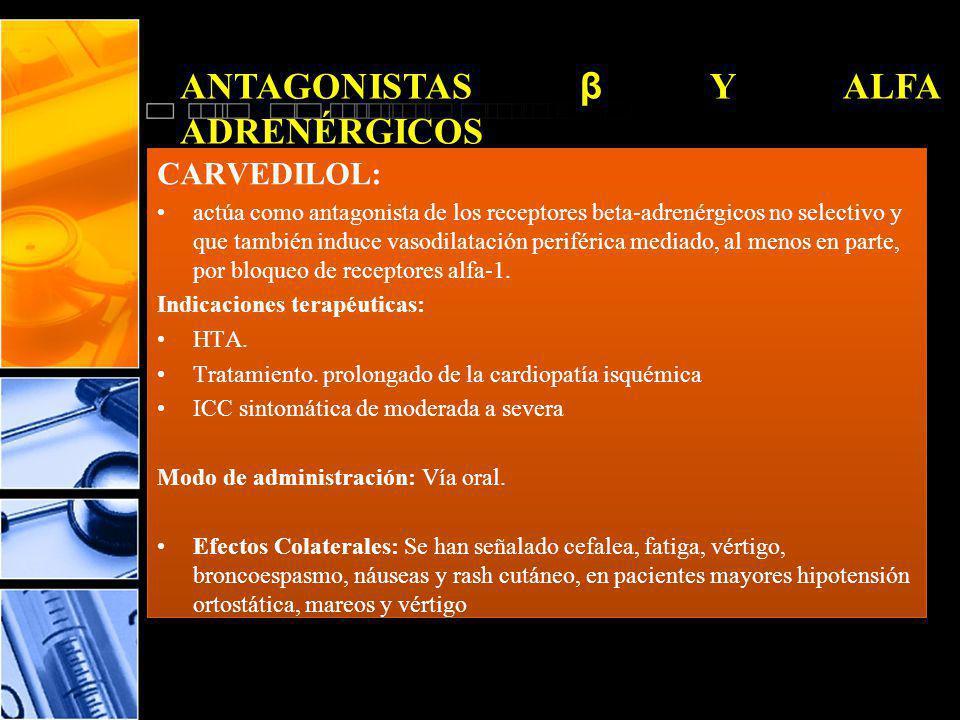 ANTAGONISTAS β Y ALFA ADRENÉRGICOS