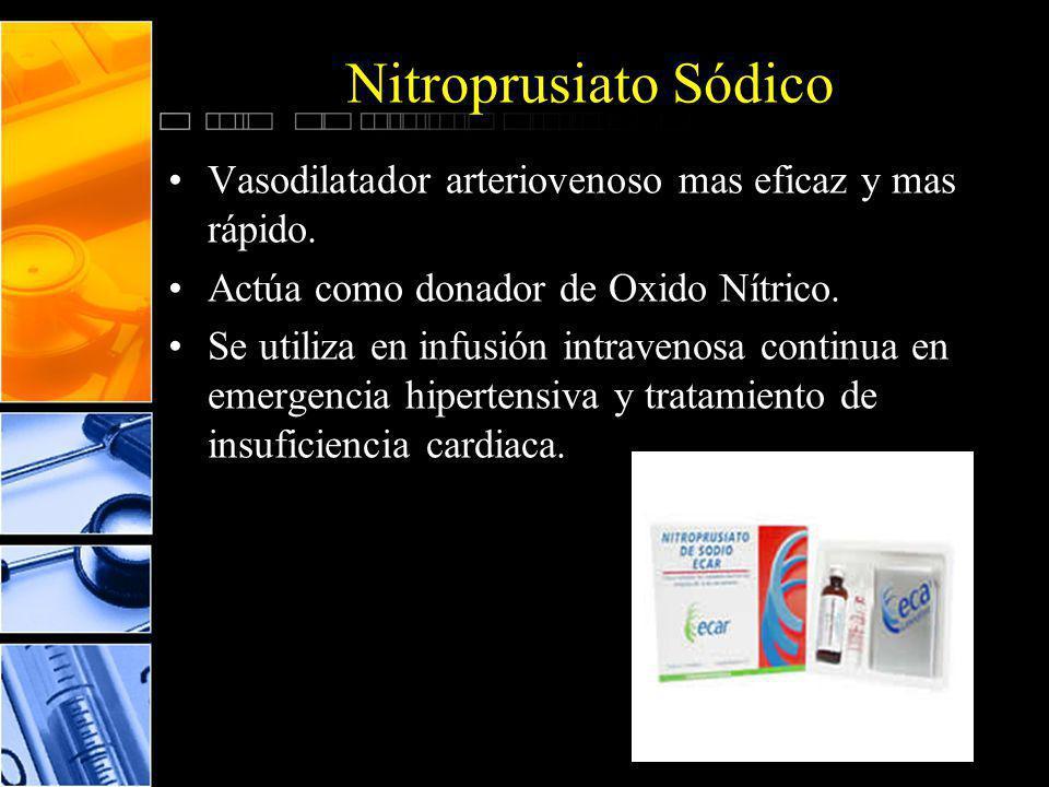 Nitroprusiato Sódico Vasodilatador arteriovenoso mas eficaz y mas rápido. Actúa como donador de Oxido Nítrico.