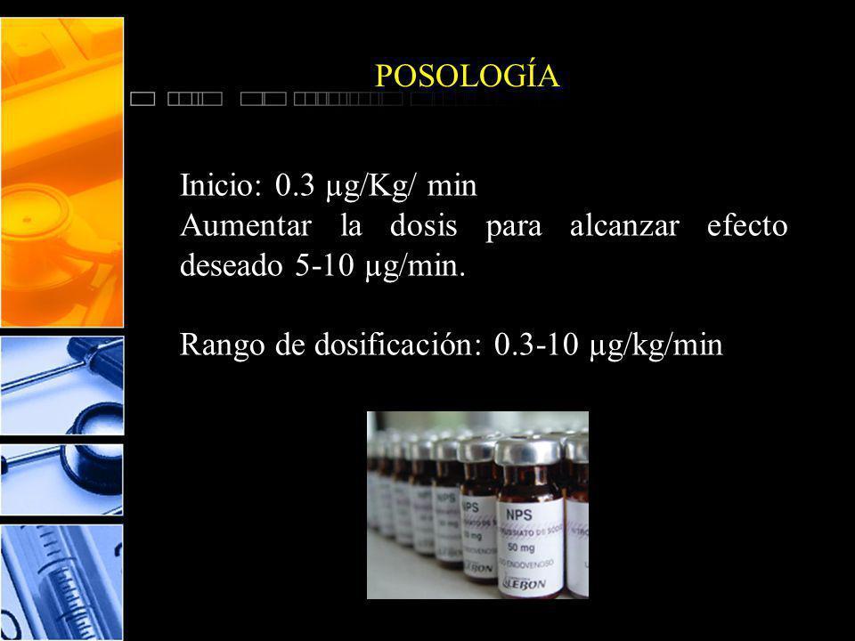 POSOLOGÍA Inicio: 0.3 µg/Kg/ min. Aumentar la dosis para alcanzar efecto deseado 5-10 µg/min.