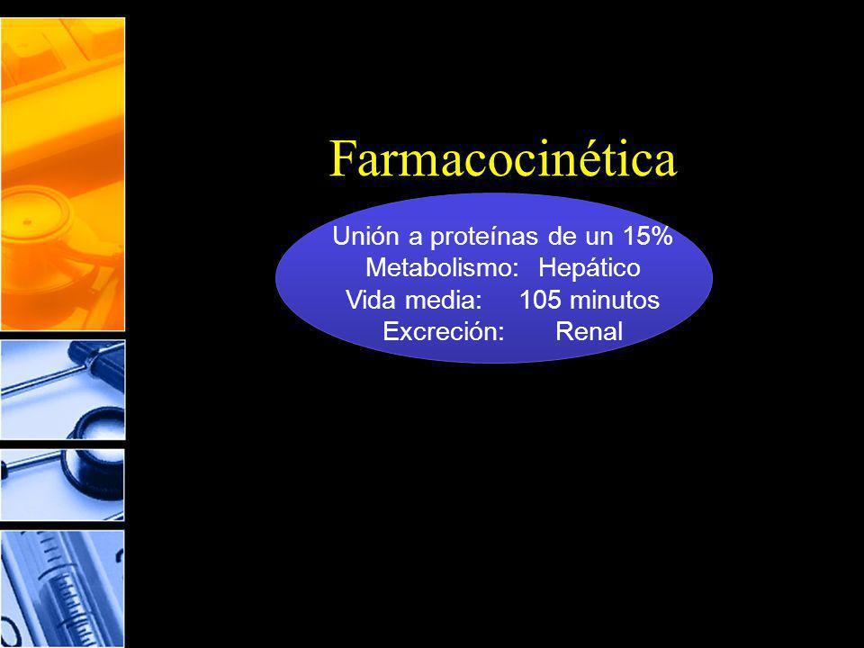 Farmacocinética Unión a proteínas de un 15% Metabolismo: Hepático
