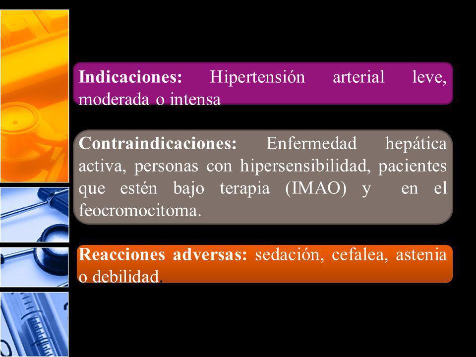 Indicaciones: Hipertensión arterial leve, moderada o intensa