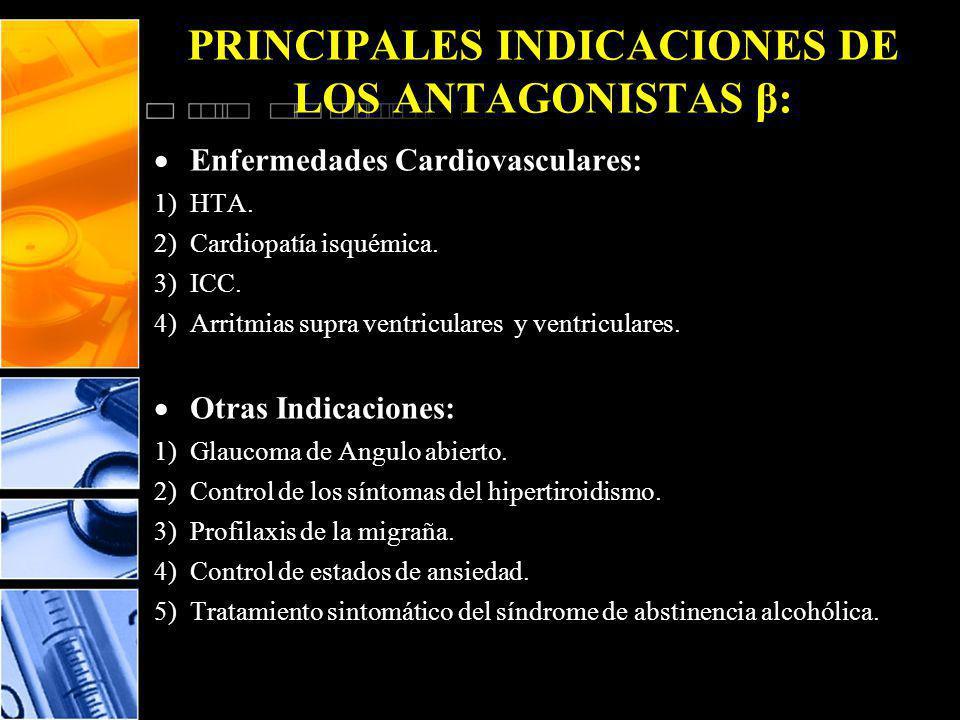 PRINCIPALES INDICACIONES DE LOS ANTAGONISTAS β: