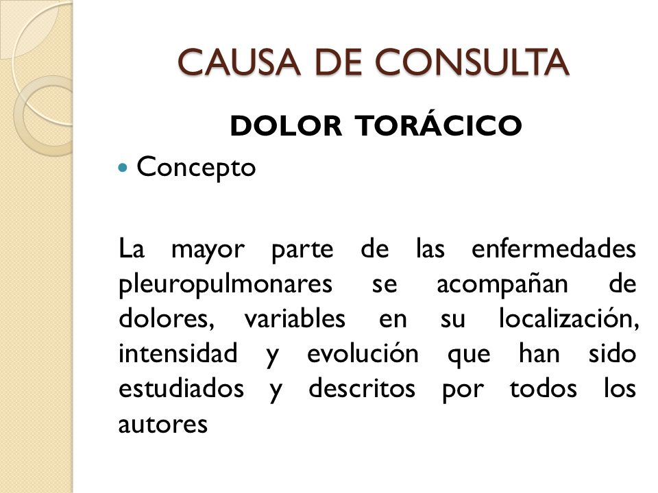 CAUSA DE CONSULTA DOLOR TORÁCICO Concepto