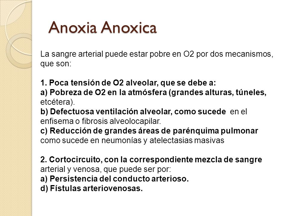 Anoxia Anoxica La sangre arterial puede estar pobre en O2 por dos mecanismos, que son: 1. Poca tensión de O2 alveolar, que se debe a: