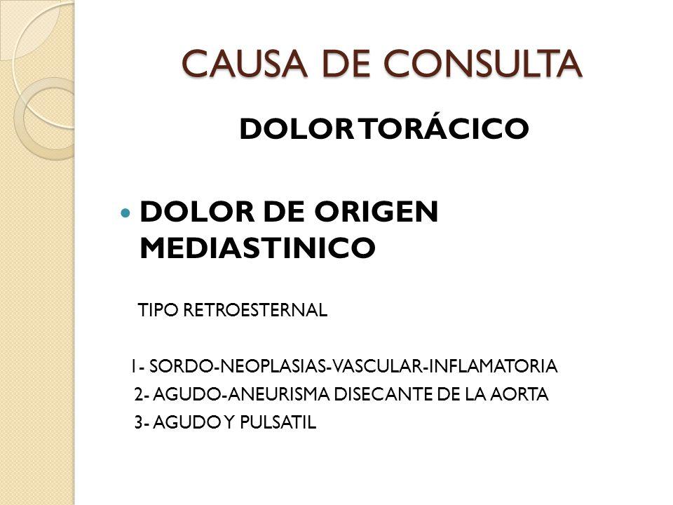CAUSA DE CONSULTA DOLOR TORÁCICO DOLOR DE ORIGEN MEDIASTINICO