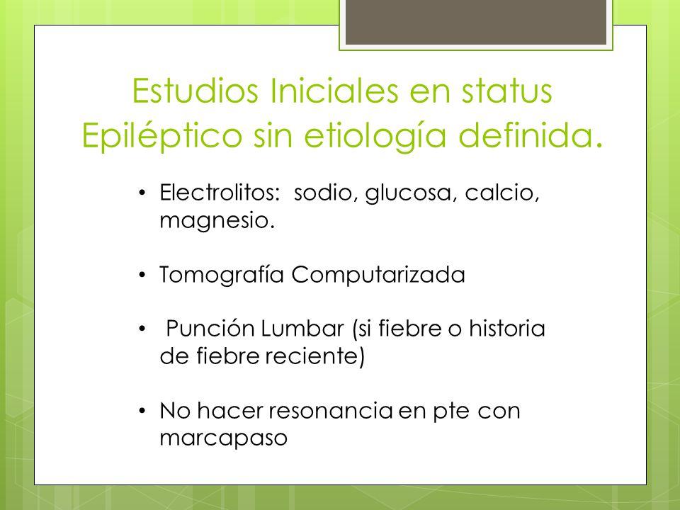 Estudios Iniciales en status Epiléptico sin etiología definida.