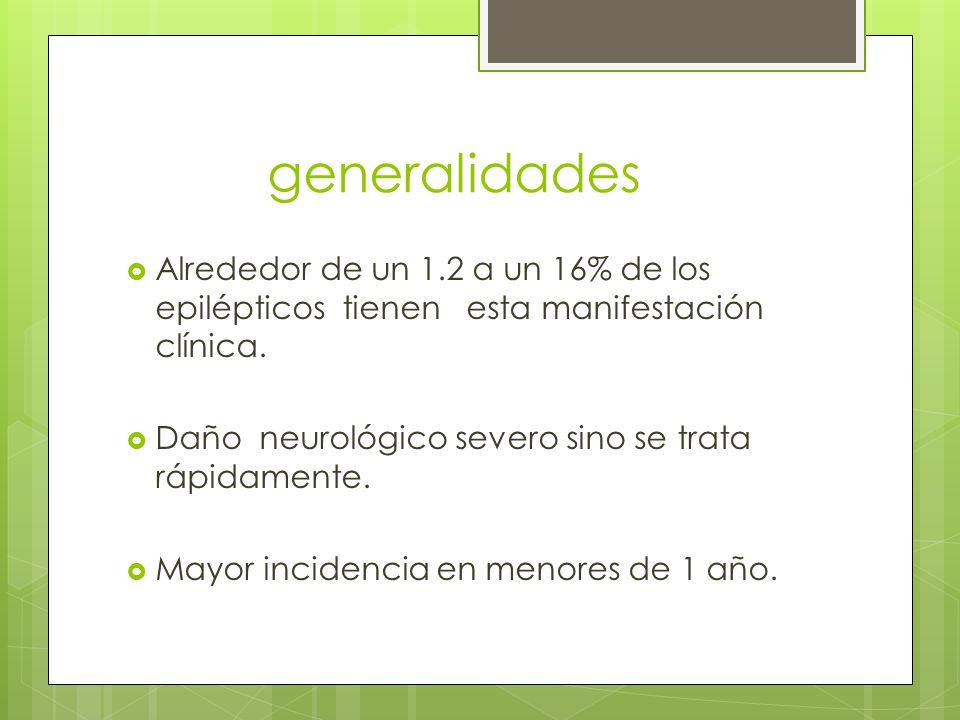 generalidades Alrededor de un 1.2 a un 16% de los epilépticos tienen esta manifestación clínica.
