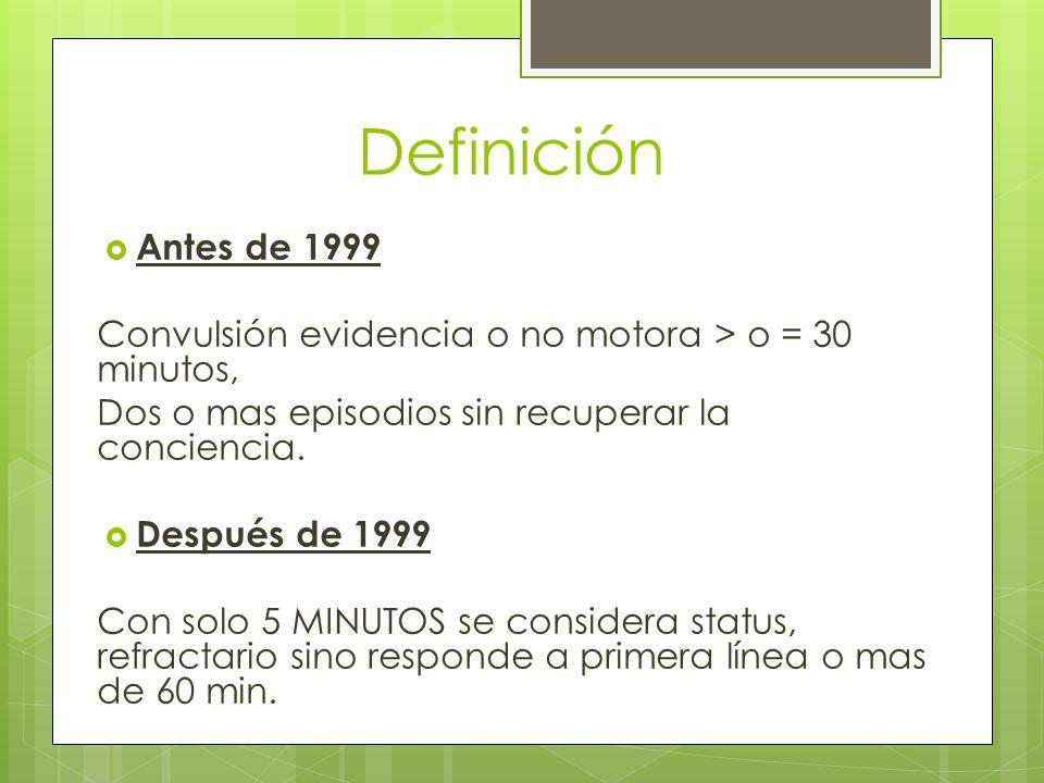 Definición Antes de 1999. Convulsión evidencia o no motora > o = 30 minutos, Dos o mas episodios sin recuperar la conciencia.