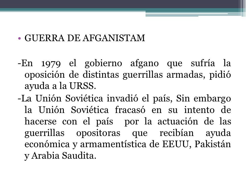 GUERRA DE AFGANISTAM -En 1979 el gobierno afgano que sufría la oposición de distintas guerrillas armadas, pidió ayuda a la URSS.