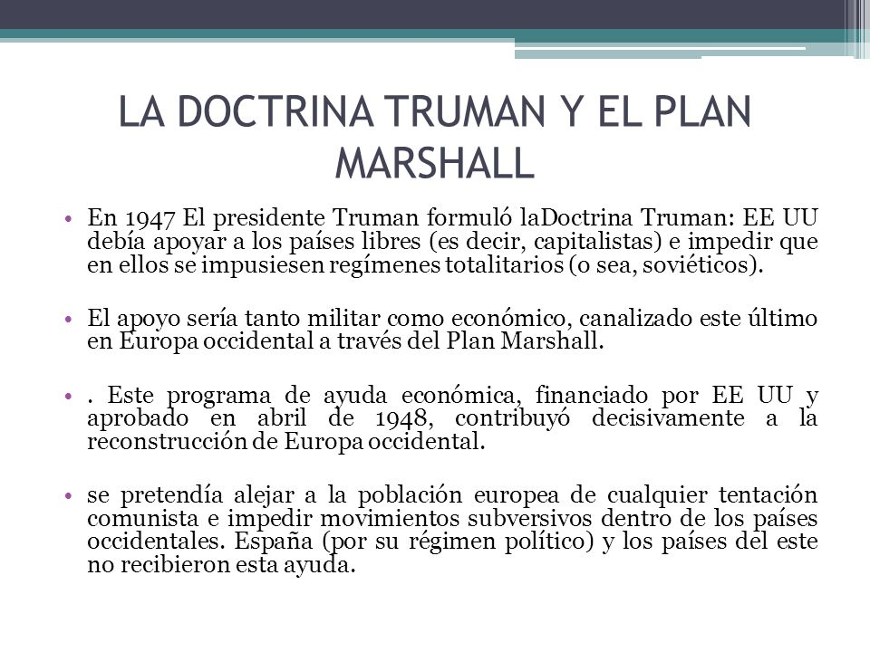 LA DOCTRINA TRUMAN Y EL PLAN MARSHALL