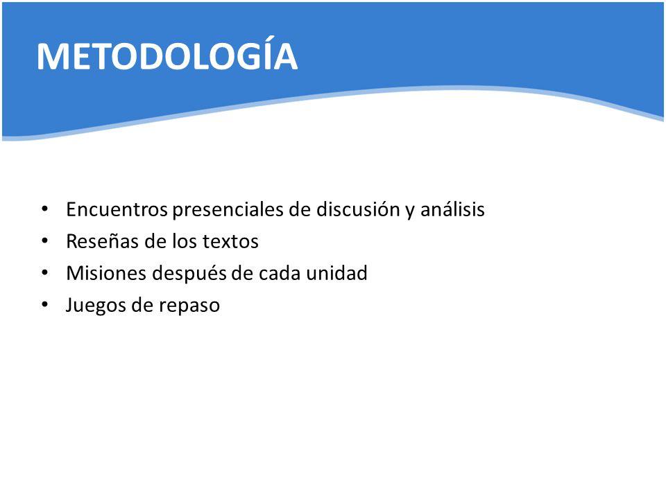 METODOLOGÍA Encuentros presenciales de discusión y análisis
