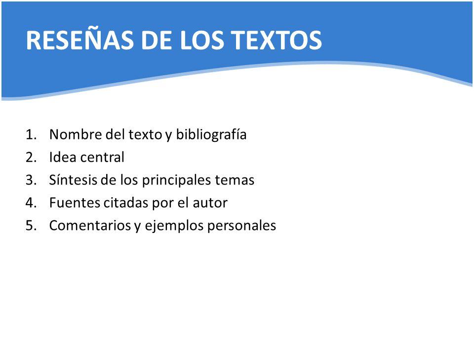 RESEÑAS DE LOS TEXTOS Nombre del texto y bibliografía Idea central