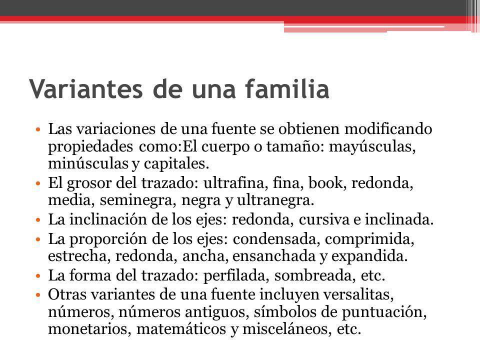 Variantes de una familia
