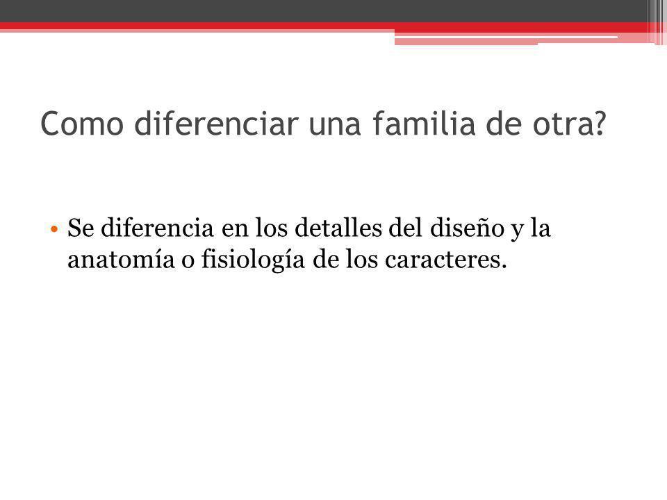 Como diferenciar una familia de otra
