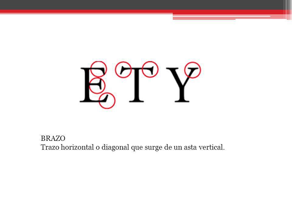 BRAZO Trazo horizontal o diagonal que surge de un asta vertical.