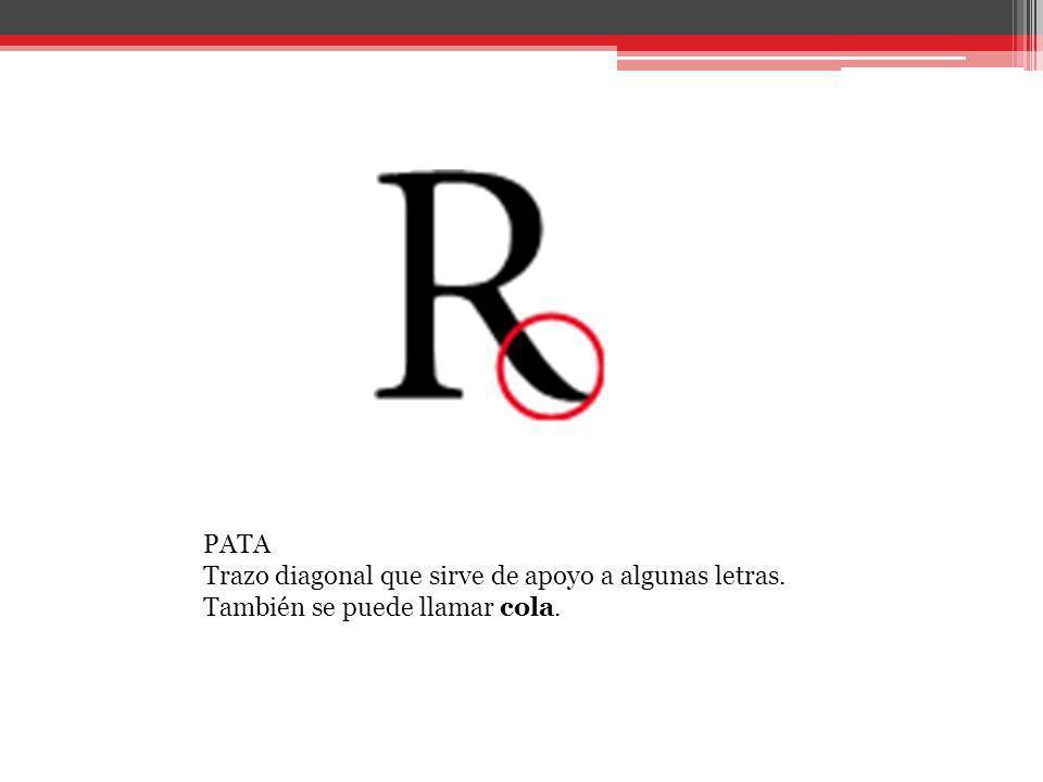 PATA Trazo diagonal que sirve de apoyo a algunas letras
