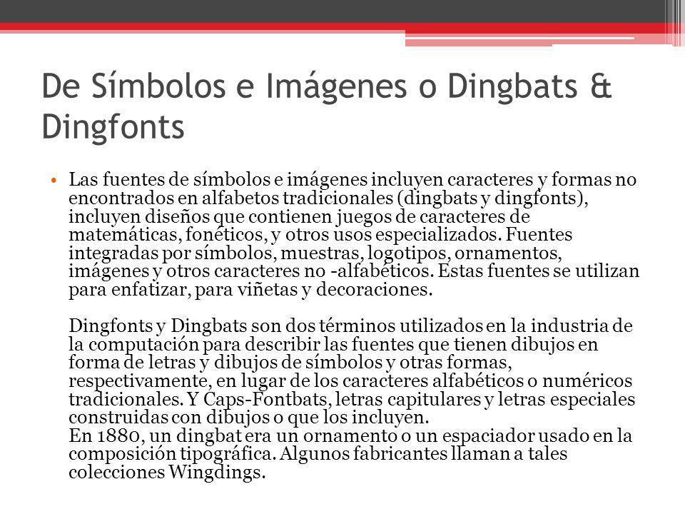 De Símbolos e Imágenes o Dingbats & Dingfonts