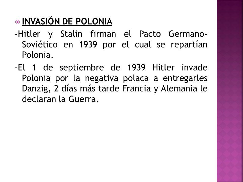 INVASIÓN DE POLONIA -Hitler y Stalin firman el Pacto Germano- Soviético en 1939 por el cual se repartían Polonia.