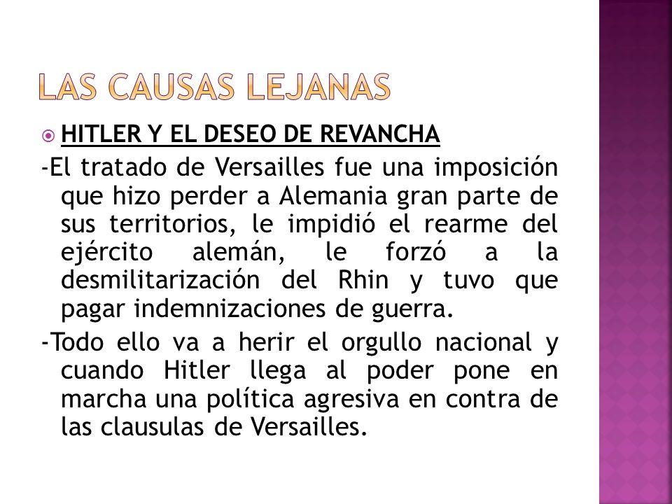 LAS CAUSAS LEJANAS HITLER Y EL DESEO DE REVANCHA.