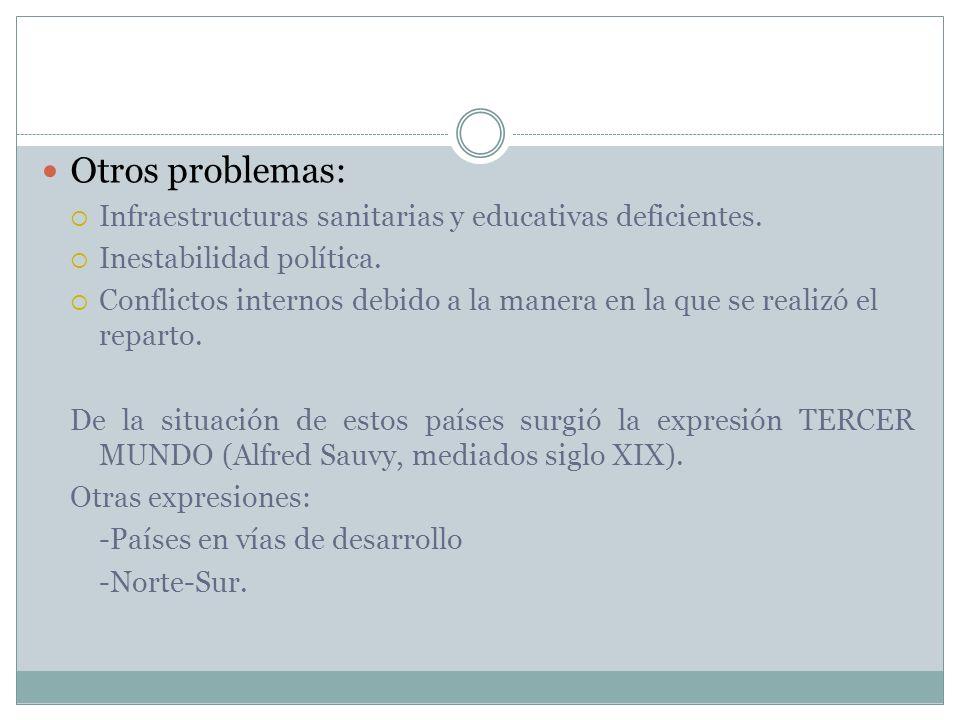 Otros problemas: Infraestructuras sanitarias y educativas deficientes.
