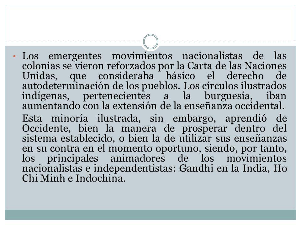 Los emergentes movimientos nacionalistas de las colonias se vieron reforzados por la Carta de las Naciones Unidas, que consideraba básico el derecho de autodeterminación de los pueblos. Los círculos ilustrados indígenas, pertenecientes a la burguesía, iban aumentando con la extensión de la enseñanza occidental.