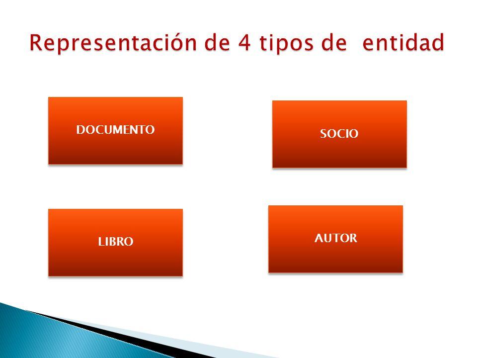 Representación de 4 tipos de entidad