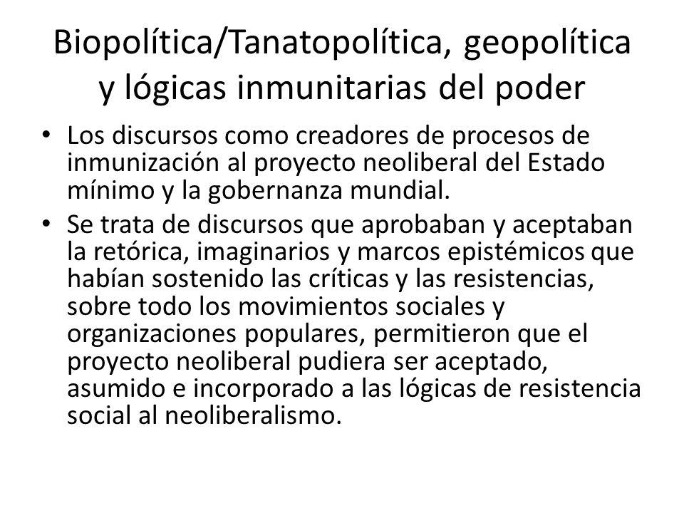 Biopolítica/Tanatopolítica, geopolítica y lógicas inmunitarias del poder