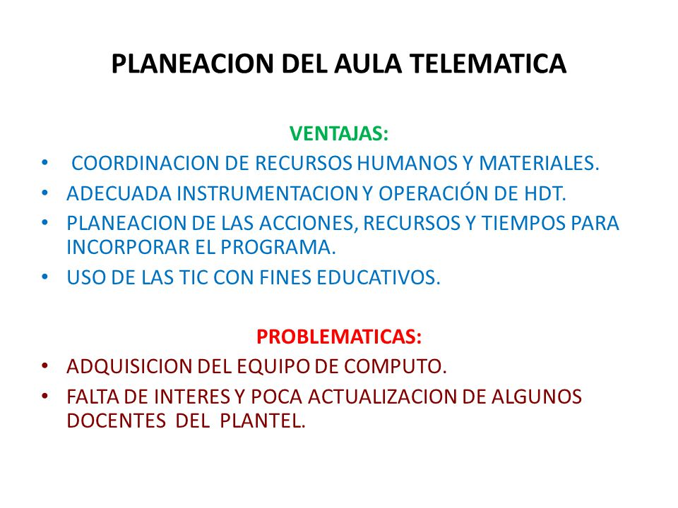 PLANEACION DEL AULA TELEMATICA