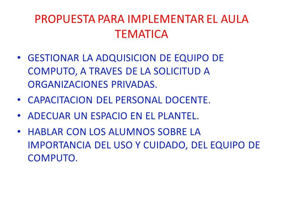 PROPUESTA PARA IMPLEMENTAR EL AULA TEMATICA