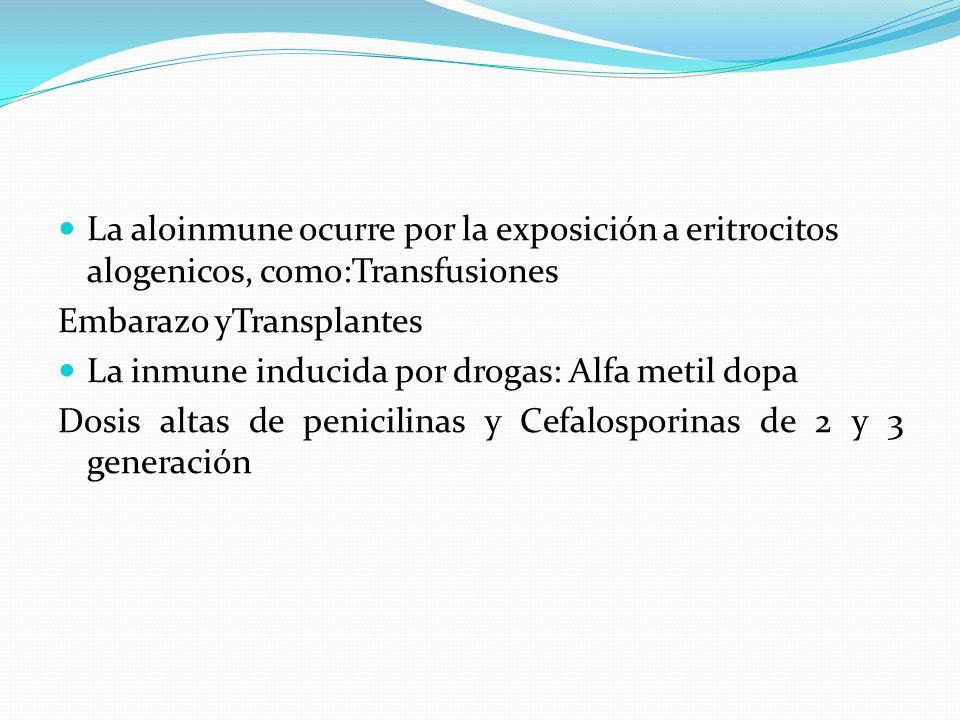 La aloinmune ocurre por la exposición a eritrocitos alogenicos, como:Transfusiones
