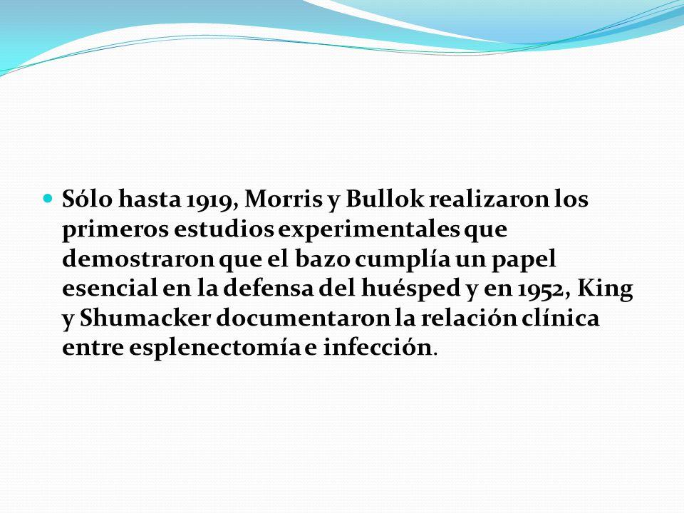 Sólo hasta 1919, Morris y Bullok realizaron los primeros estudios experimentales que demostraron que el bazo cumplía un papel esencial en la defensa del huésped y en 1952, King y Shumacker documentaron la relación clínica entre esplenectomía e infección.