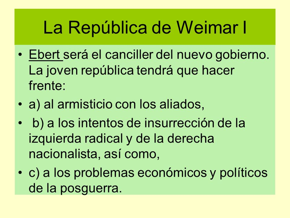 La República de Weimar I