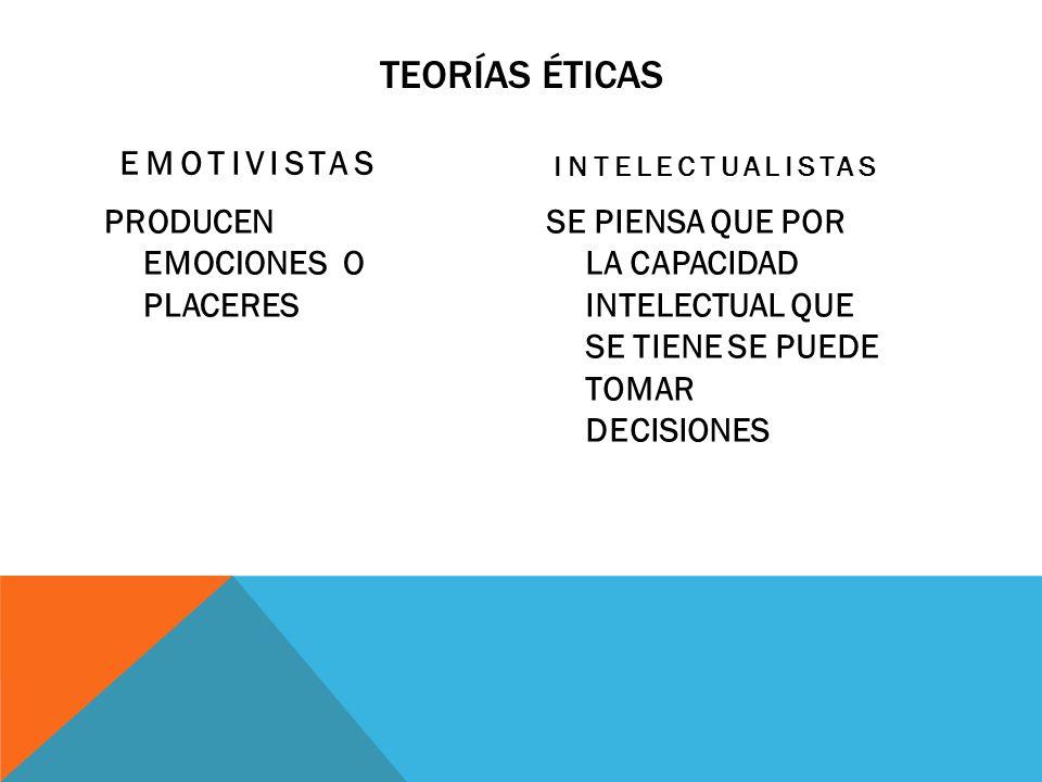 Teorías éticas EMOTIVISTAS PRODUCEN EMOCIONES O PLACERES