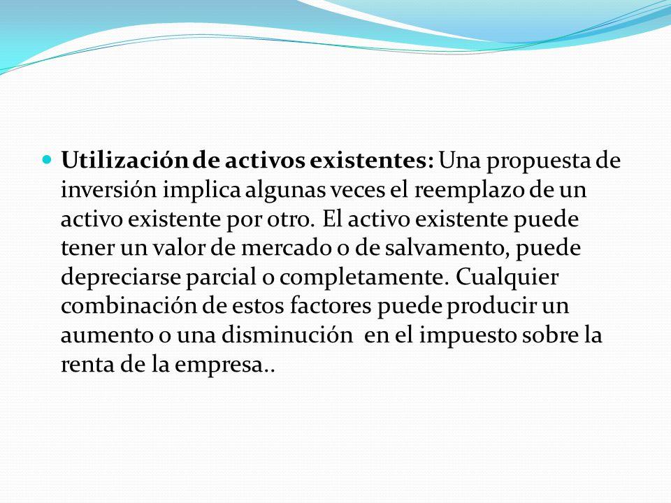 Utilización de activos existentes: Una propuesta de inversión implica algunas veces el reemplazo de un activo existente por otro.