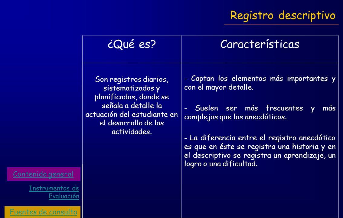 Registro descriptivo ¿Qué es Características