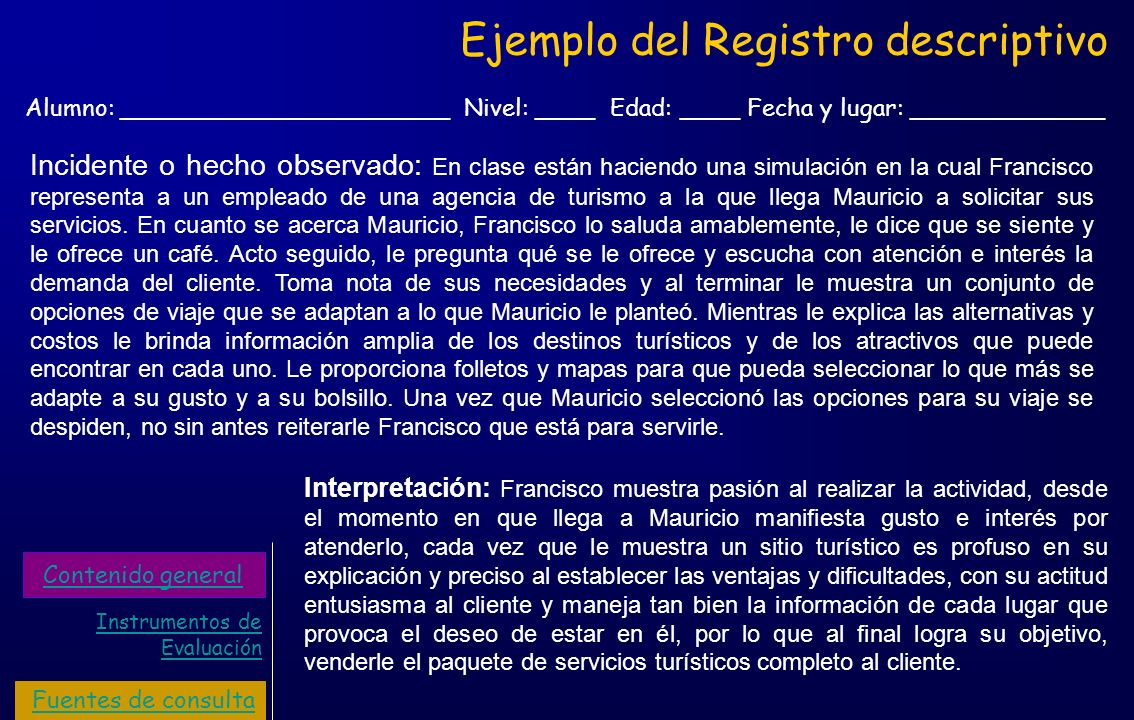 Ejemplo del Registro descriptivo