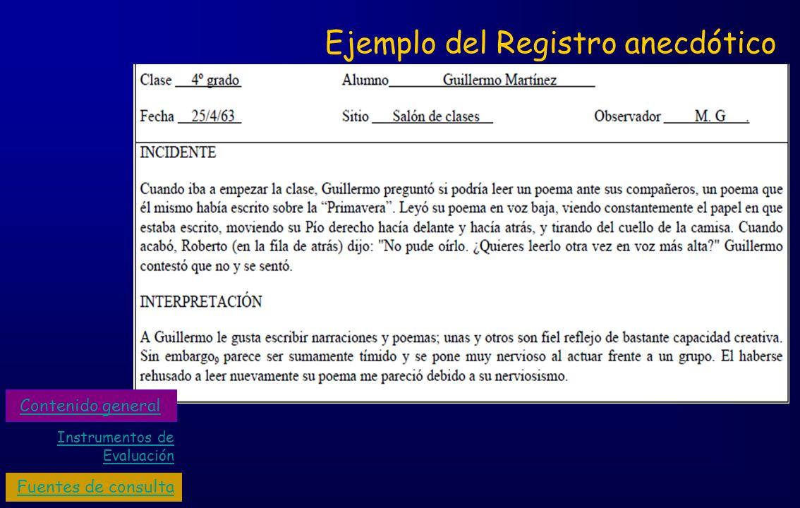 Ejemplo del Registro anecdótico