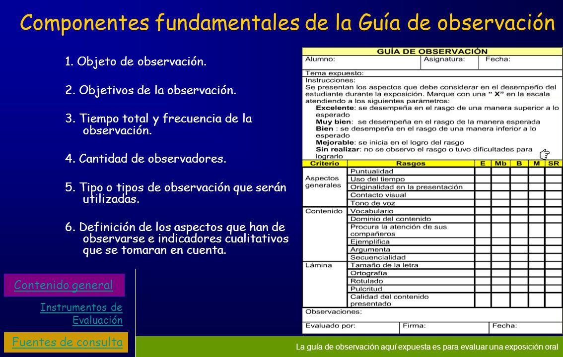 Componentes fundamentales de la Guía de observación